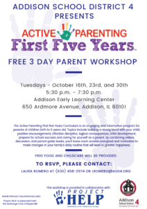 Free Parent Workshop Series @ Addison Early Learning Center